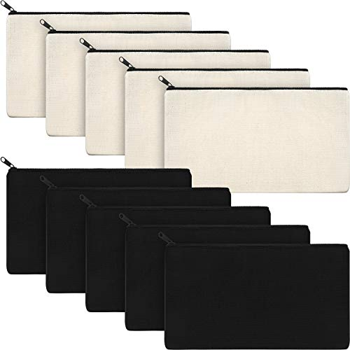 Canvas Makeup Bags Canvas Zipper Pouch Bags Pencil Case Blank DIY Craft Bags Cosmetic Pouch for Travel DIY Craft School (Black and White, 10 Pieces)