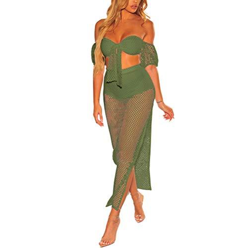 Suit Vrouwen Mode Elegante Zomer Vrouwen Uitsnijding Verpakt Borst Lantaarn Modieuze Completi Korte Mouw Hoge Split Twee Stuk Beach Wear