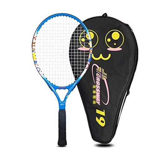 Raquetas De Tenis Integrada De Compuesto De Carbono Niños Adecuado para Deportes Al Aire Libre (Color : Blue, Size : 21 Inches)