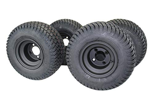 8' MATTE BLACK STEEL GOLF CART WHEELS AND 18X8.50-8' TURF 4 PLY TIRES - (SET OF 4)