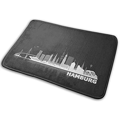 DaiMex 2er-Pack Badteppichmatte Hamburg City of Skyline BlackBerry Sleeve, extra weiche und saugfähige Teppiche, Fußmatten-Badematte