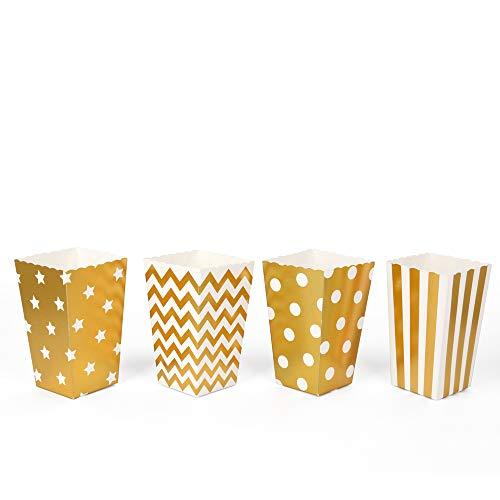 ewtshop® Popcorn-Boxen, 40 Stück in 4 verschiedenen Designs, Popcorn Tüten oder Candy Container für Partys, Kinoabende und vieles mehr