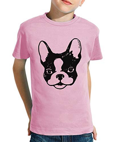 latostadora - Camiseta Bulldog Frances para Nino y Nina Rosa XS