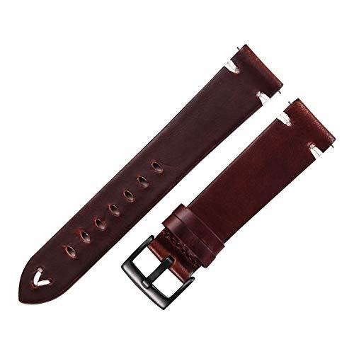 DXNXLLY Duradero Reloj de Cuero Black Negro marrón marrón Cera Reloj de Cuero Correa 18 mm 20 mm 22 mm Reloj rápido Reloj Cinturón de Vaca Hecho a Mano Herramienta de Correa de Reloj