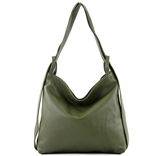 modamoda de - T192 - ital. Damen Rucksacktasche 2in1 aus Leder, Farbe:Olivgrün