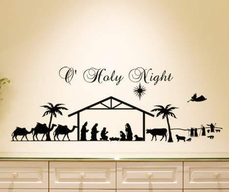 onbekend Wall Art Geboorte Geboorte Geboorte Kerstmis Decor Muursticker O Heilige Nacht Geboorte Silhouette Kerstmis Vinyl Decal Geboorteteken Vakantie Sticker houten plaque, op maat cadeau