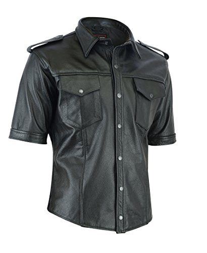 Mens Motorcycle Black Leather T Shirt
