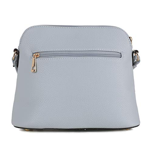 SG SUGU Lightweight Medium Dome Crossbody Bag with Tassel | Zipper Pocket | Adjustable Strap (Blue/Ivory)