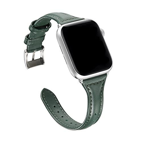 Banda Reemplazo Compatible con Apple iWatch 44MM Serie 6 Acero, Slim Thin PU Cuero Correa de Repuesto con Hebilla de Metal Smartwatch Cuero Loop Compatible con iWatch 42MM/44MM SE Serie 6/5/4/3/2/1