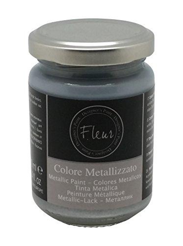Fleur Paint 12501 - Pintura mineral metalizada (base agua, 130 ml) color aston silver