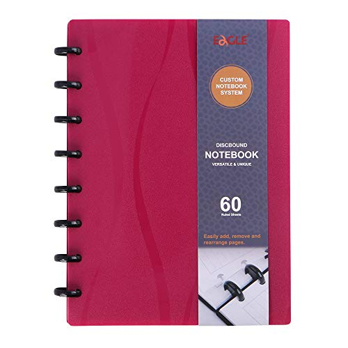 Eagle Discbound Notebook, Customizable Notebook, Junior Size, Poly Cover, 60 Sheets Ruled /Lined Pages (Red)