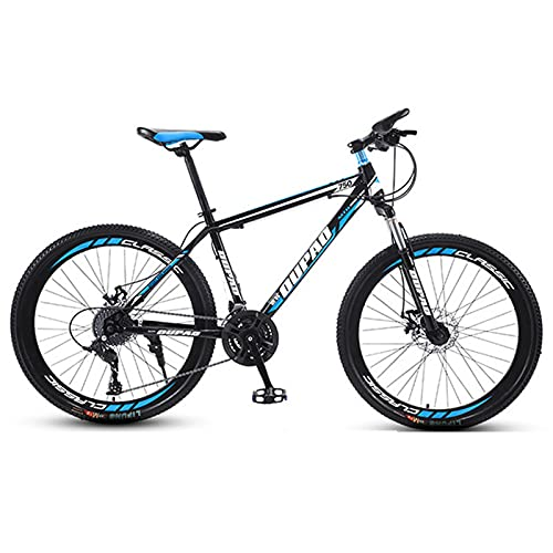 Mountain Bike,Adult Offroad Road Bicycle 24 Inch 21/24/27 Speed Variable Speed Shock Absorption, Teenage Students, Men and Women Sports Cycling Racing Ride BK-BU spoke wheel- 24 spd