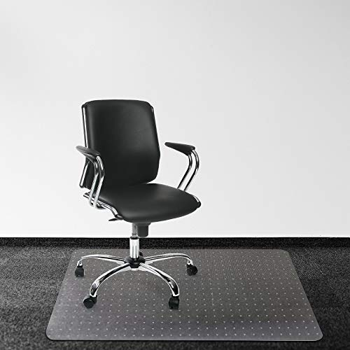 Kuyal Office Chair Mat for Carpets, 30in X 48in PVC Home Office Chair Mat for Low and No Pile Carpeted Floors, Clear, Studded, BPA Free (30