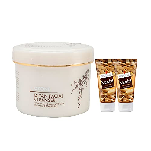 Ozone D Tan Facial Cleanser 250gm with 2 Pc. Sandal Face Wash 60ml FREE.100% Natural Extracts for Tan Removal, Sun Damage Protection and Skin Whitening