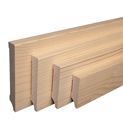 Massive Holz-Sockelleisten Fichte lackiert Weimarer Profil Modern [SPARPAKET] (40mm Höhe, 20 Stück / 46lfm)