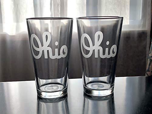 Script Ohio Pint Glass Set - Ohio State - Buckeyes - 2 glasses - CBus