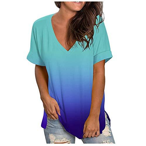 Camiseta de mujer de manga corta con impresión de mujer, talla grande, de verano, para mujer turquesa L