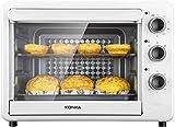 Mini horno eléctrico Tostadora Multi Cocina Control de temperatura ajustable y temporizador para hornear pastel Pizza 32L-Blanco