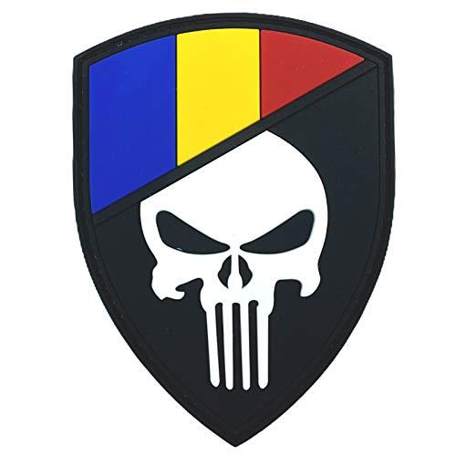 Rumänien Rumänisch Flagge Punisher Im Dunkeln Leuchten Cosplay Airsoft PVC Klett Emblem Abzeichen Patch