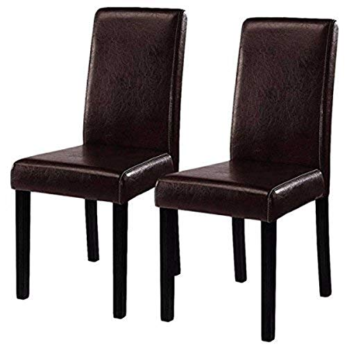 Costway Set of 2 Parson Chairs Elegant Design Leather Modern Dining Chairs Dining Room Kitchen Furniture Urban Style Solid Wood Leatherette Padded Seat (Brown)
