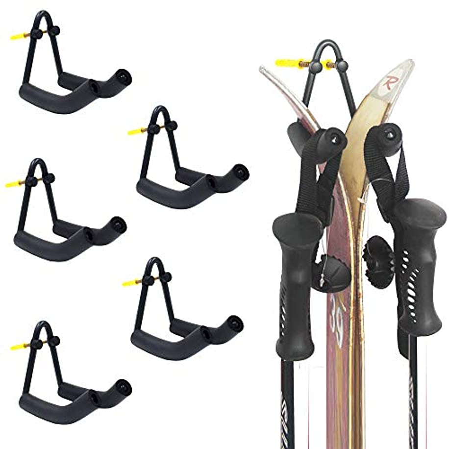 YYST V Style Ski Wall Mount Ski Wall Holder - Hold Your Skis and Poles - No Skis and Poles Included - No Scratches