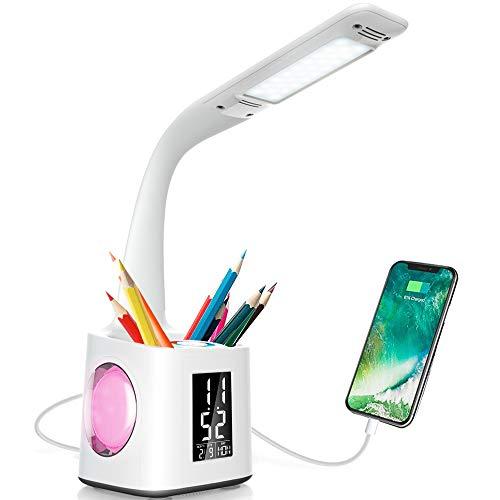 Lámpara de Escritorio con Portalápices, 10W Flexo Escritorio LED Regulable Pantalla LCD y Carga USB, LED Lectura Lámpara con 3 Niveles de Brillo y 256 Colores de Luz de Noche para Estudiar y Dormir