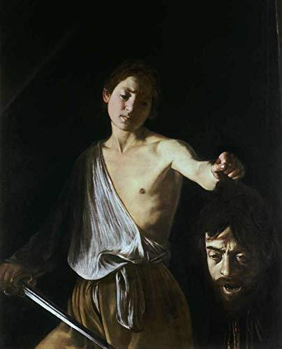 Davi com a Cabeça de Golias (1600) de Caravaggio - 30x37 - Tela Canvas Para Quadro