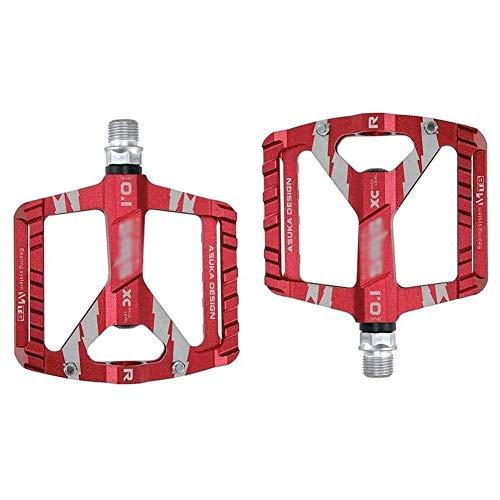 XYXZ Pedales de Plataforma para Bicicleta, Antideslizantes, duraderos, para Bicicleta, aleación de Aluminio, 4 rodamientos, Pedal Plano, Impermeables, a Prueba de Polvo, híbridos, para 9/16