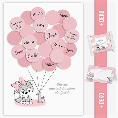 Mia Félice Erster Geburtstag, 1. Geburtstag Geschenk, Gastgeschenk, Deko, Andenken, Idee, Glückwünsche, Fingerabdruck, Erinnerungsstück, Fuchs, mädchen, rosa