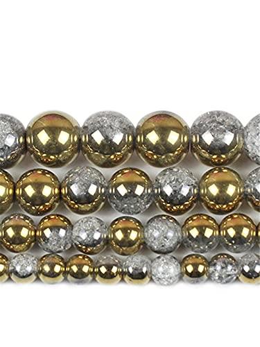 Cuentas redondas de cristal agrietado de oro blanco para hacer joyas de 6/8/10/12 mm, espaciador de cuentas sueltas para bricolaje collar de pulsera de oro de 6 mm aprox. 63 cuentas