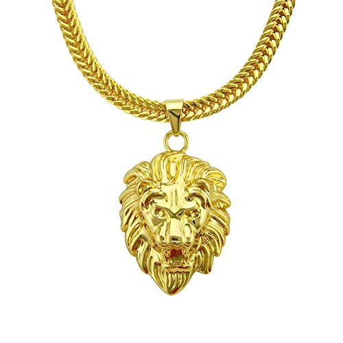 Leeuwenvorm Heren Ketting Link 18K Goud vergulde Punk Sterke Zware Sieraden Chunky stoeprand Cubaanse Strass Steentjes Hip Hop 30inch goud