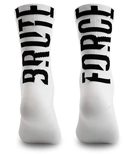 NORTEI Calcetines para Ciclismo, MTB y Running de Caña Alta para Hombre y Mujer – Brute Force White (L-XL (43-46))