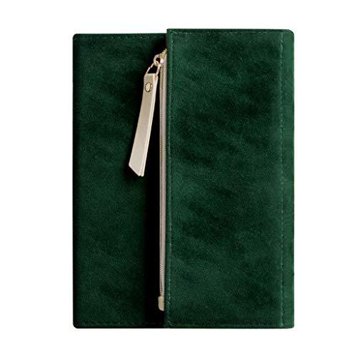 Haijun B6 - Cuaderno de tres pliegues, diseño de antelación de viaje, con tapa dura y cierre elástico, color gris/verde/café, 160 páginas