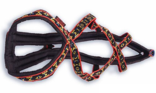 Weight Pulling Sledding Dog Harness X-Back Style for Wide Chested Hound Dogs (Black/Red, X-Large)