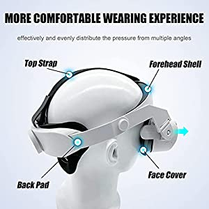 Oculus Quest 2 Halo Strap and Silicone Face Cover - Adjustable Replacement for Quest 2 Elite Strap - Relieved Face Pressure Comfortable Touch - Oculus Quest 2 VR Accessories Head Strap (White)