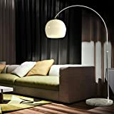 CCLIFE Lámpara curva de pie salon lampara sofa con interruptor de cable y pie,bombilla E27 de máximo 60w, Color:Blanco,Altura ajustable 130-180cm