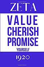 Zeta Value Cherish Promise Yourself 1920: Inspirational Quotes Blank Lined Journal