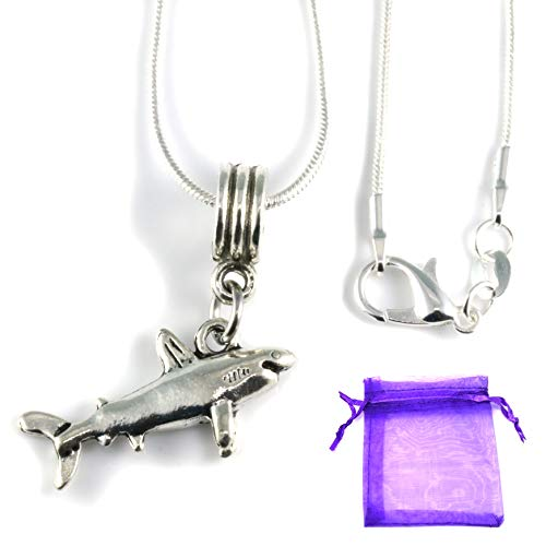 Shark Necklace   Great Shark Gifts for Shark Lovers on a Silver Plated Snake Chain Necklace with a nice Shark Charm of a Great White Shark this is Cool Shark Stuff and awesome Shark Necklaces