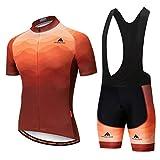Uriah Men's Cycling Jersey Bib Shorts Sets Short Sleeve Reflective Copper Size M(CN)