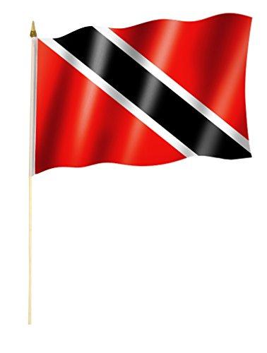 Stockflagge/Stockfahne TRINIDAD UND TOBAGO Flagge/Fahne ca. 30 x 45 cm mit ca. 60cm Stab/Stock
