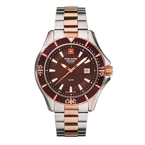 Swiss Alpine Military 7040 - Reloj analógico de cuarzo para hombre, acero inoxidable