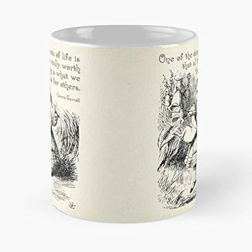 Alice in Wonderland Quote – Deep Secrets of Life – Lewis Carroll Quote – 0116 – La mejor taza de café de cerámica de mármol blanco