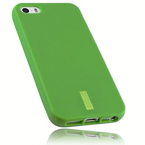 mumbi Hülle kompatibel mit iPhone SE / 5 / 5S Handy Case Handyhülle, grün mit grünem Streifen