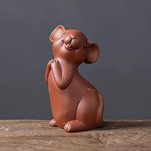 MISS KANG Skulpturen lila Ton Tee Pet Ratten Zodiac Craft Tee Tablett Home Teehaus Dekor kleine handgefertigte Tierschmuck kreative Maus-Figuren (Farbe: A) Qingchunw (Color : C)