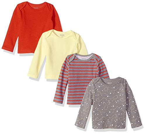 Hanes Ultimate Baby Flexy 4 Pack Long Sleeve Crew Tees, Yellow/Reds, 18-24 Months