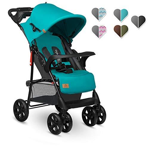 Lionelo Emma Plus Silla de paseo 68 x 49,5 x 101 cm hasta 15 kg 6-36M Respaldo ajustable Cinturón de seguridad de 5 puntos Capucha profunda Organizador para padres Vivid Turquoise