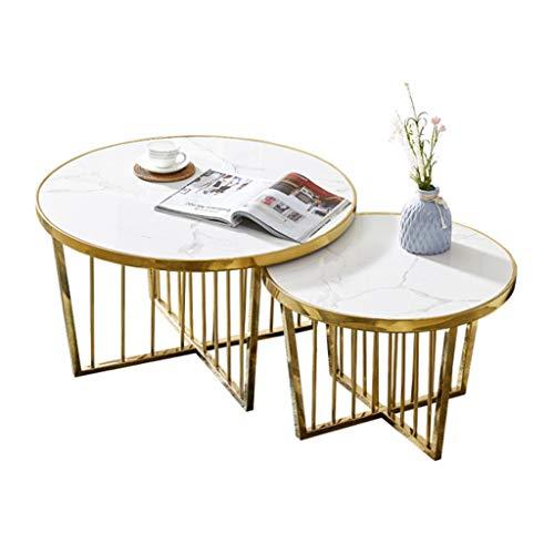 2er-Set Couchtisch Nisten/Edelstahlgestell/Weißer Marmor-Teetisch-Kombination/für die Couch zu Hause, Wohnzimmer, 80CMX45CM, 60CMX40CM