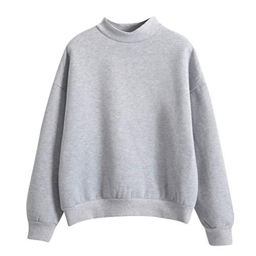 Women Blouse, Mitiy Soild Color Crew Neck Long Sleeve Tops Casual Pullover Sweatshirts Gray