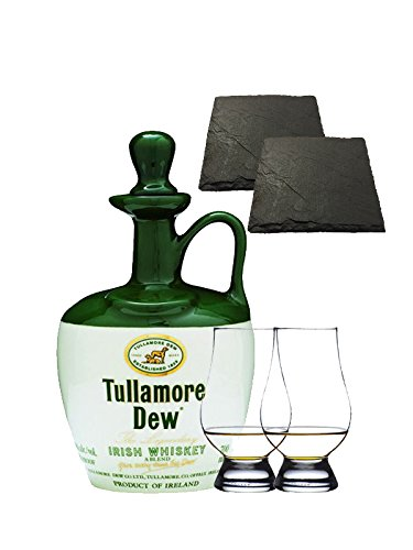 Tullamore Dew im Tonkrug 0,7 Liter + 2 Glencairn Gläser + 2 Schiefer Glasuntersetzer 9,5 cm
