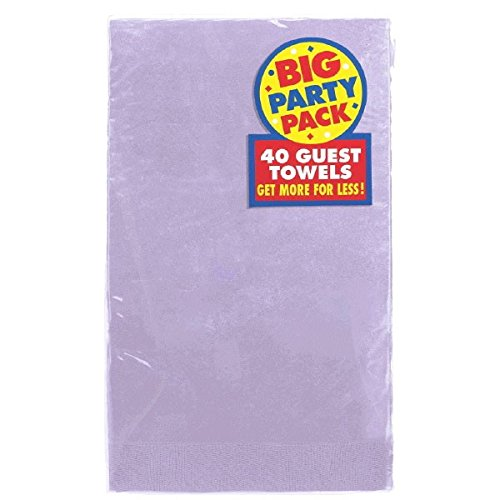 Amscan Big Party Pack 2‑Ply Guest Towels, Lavender Paper Napkins, 40 Pieces